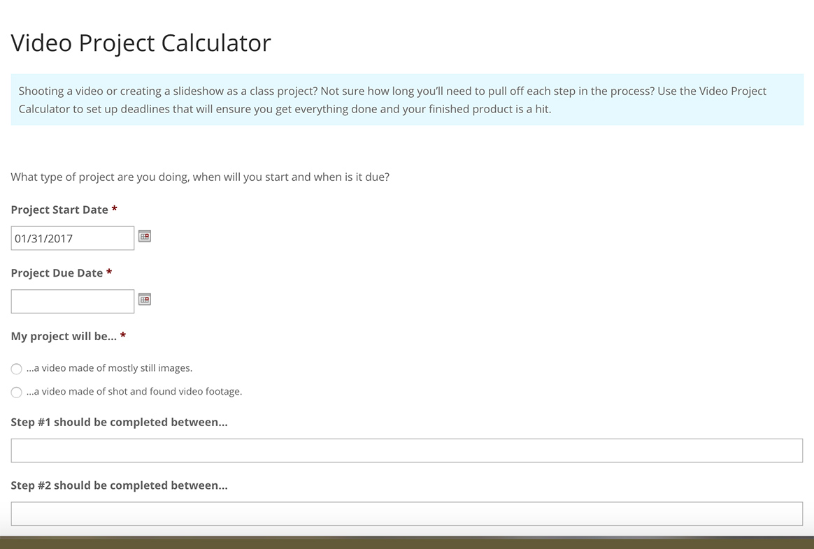 Video Project Calculator
