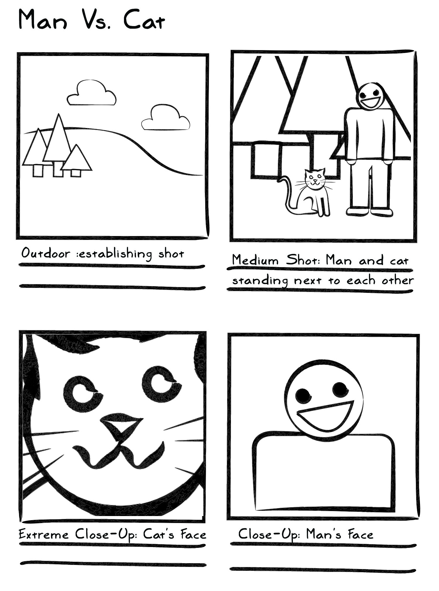 Man vs Cat Example Storyboard