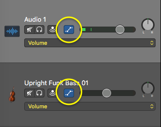 Automation button in track header