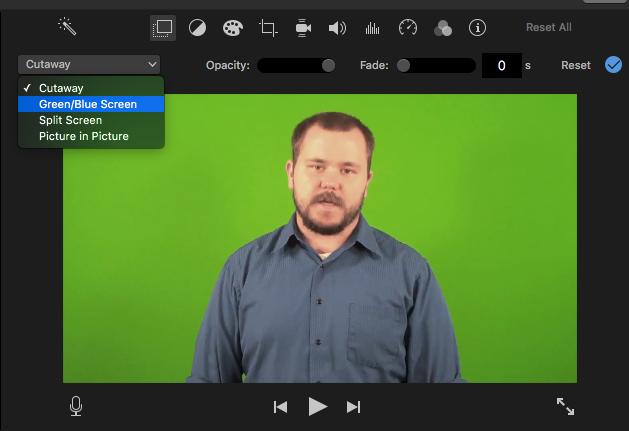 Change cutaway to green blue screen