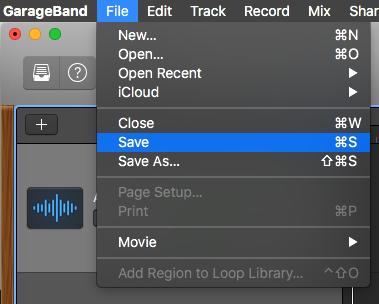 Saving GarageBand project from File menu.