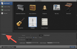 Details drop down in garage band start up window