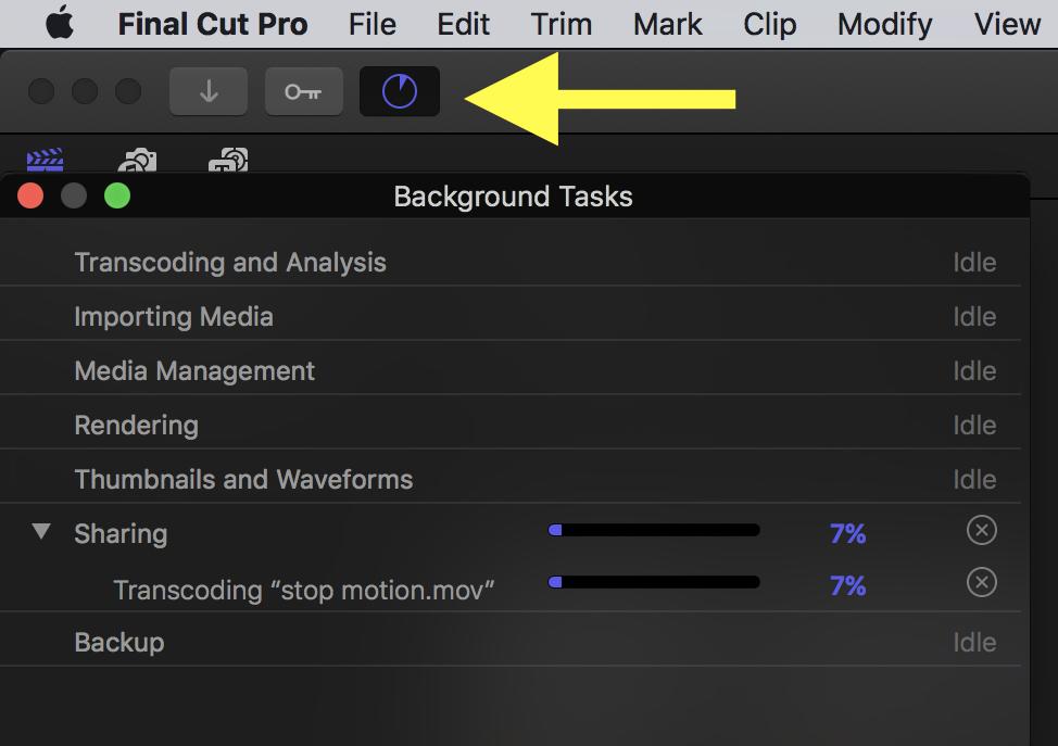 Background tasks window