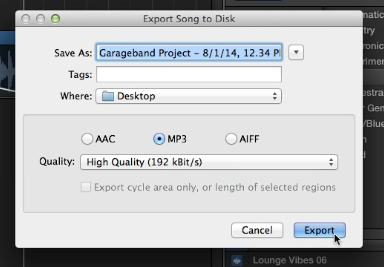 Export song to disk window