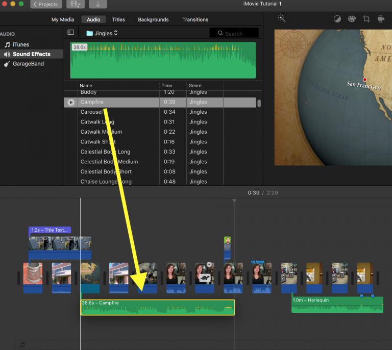 how to add audio clips in imovie