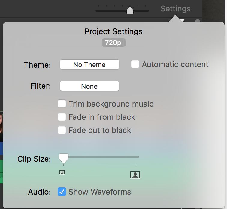 Drop down window of project settings