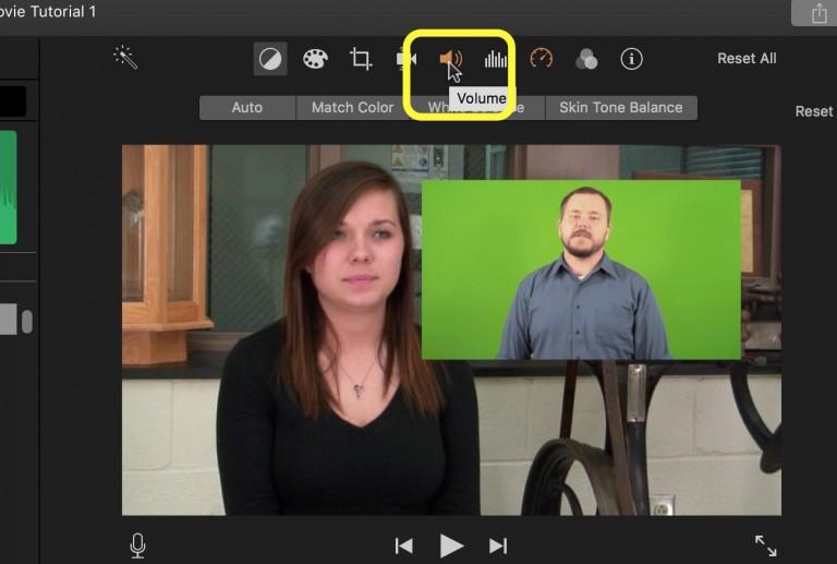 iMovie volume icon in viewer window