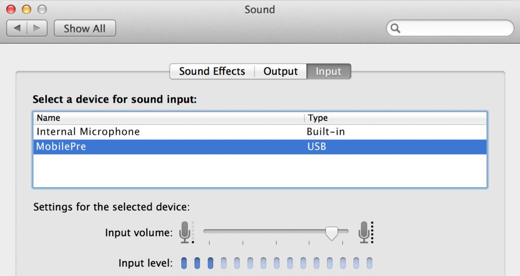 Sound input menu