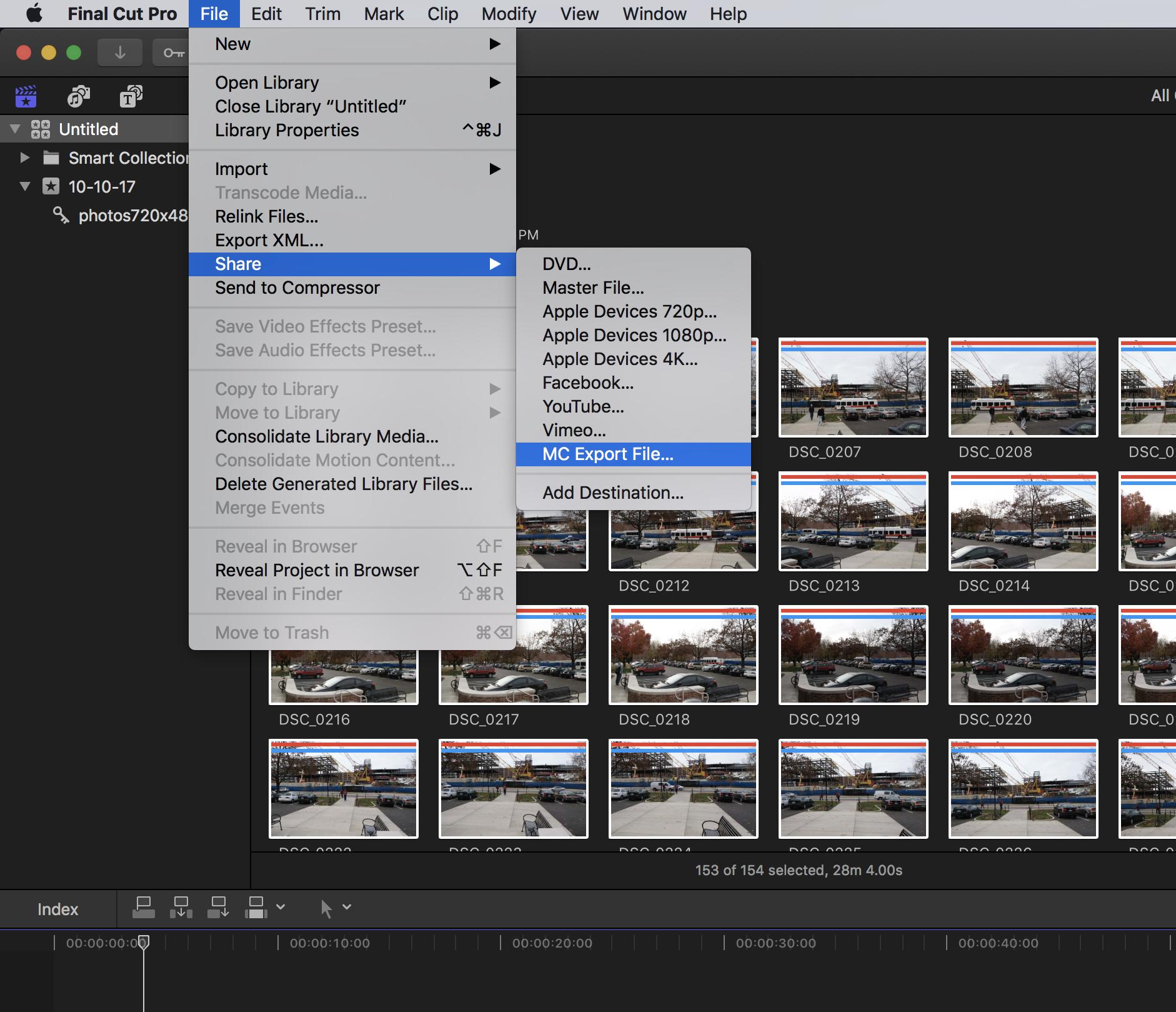 File drop down menu select share select mc export file