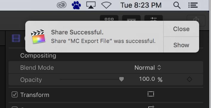 Share successful window