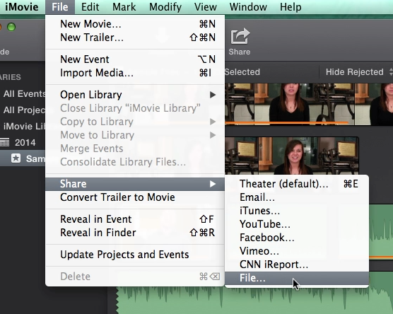 how to export imovie to mp4 2017
