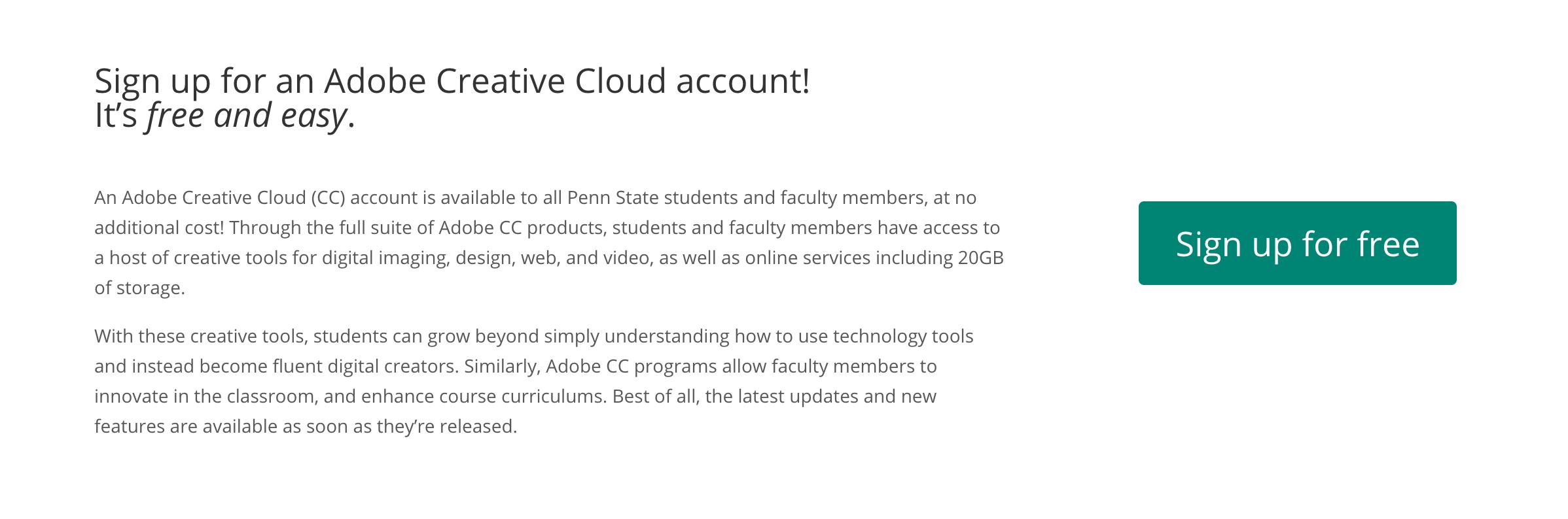 Creating an Adobe Spark Account Through Penn State | Media